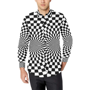 Checkered Flag Optical illusion Long Sleeve Dress Shirt-kunshirts.com