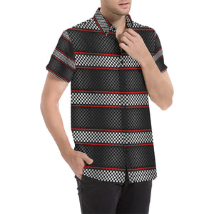 Checkered Flag Red Line Style Button Up Shirt-kunshirts.com