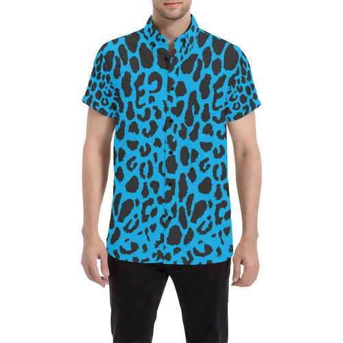 Cheetah Blue Print Pattern Button Up Shirt-kunshirts.com