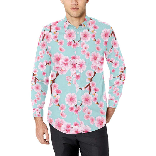 Cherry Blossom Pattern Print Design CB04 Long Sleeve Dress Shirt-kunshirts.com