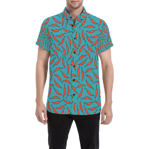 Chilli Pepper Pattern Print Design 05 Men's All Over Print Shirt (Model T53)-kunshirts.com