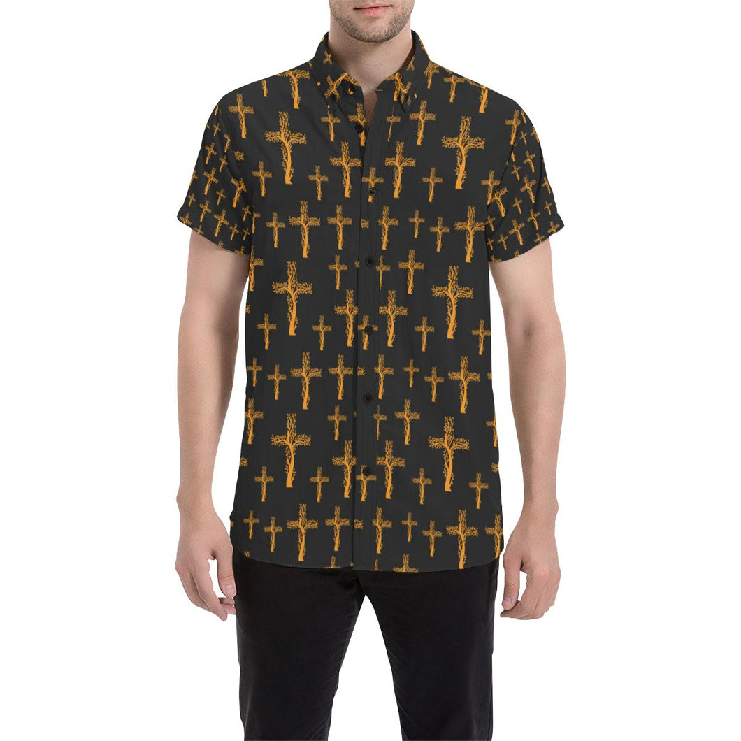 Christian Tree of Life Cross Design Button Up Shirt-kunshirts.com