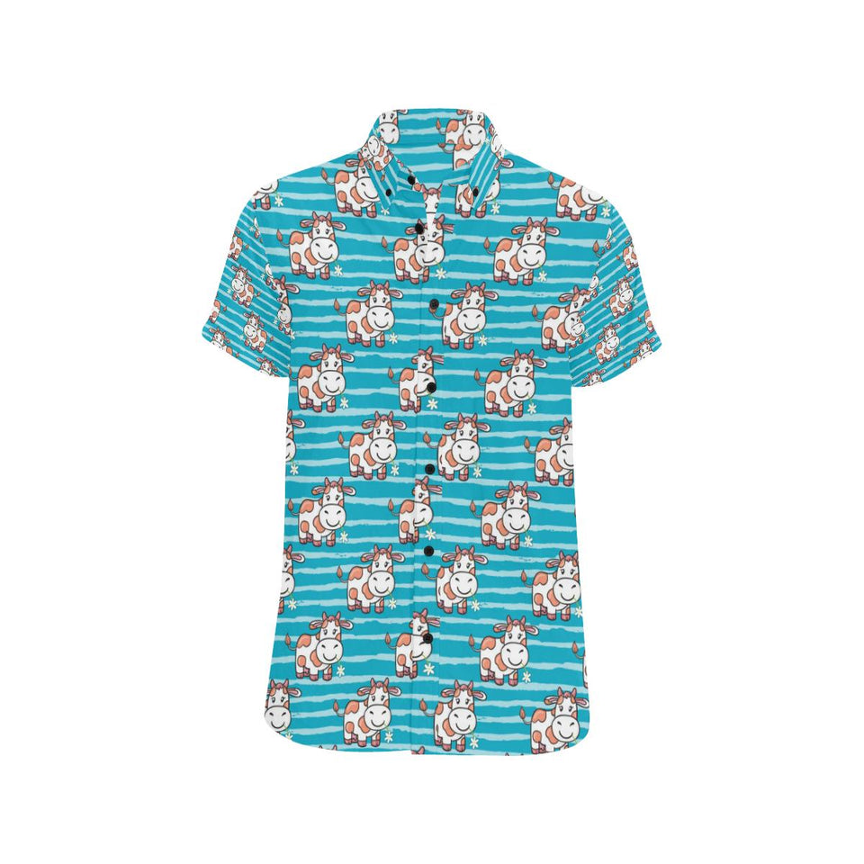 Cow Cute Print Pattern Button Up Shirt-kunshirts.com