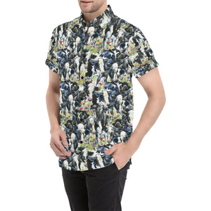Cow Watercolor Print Pattern Button Up Shirt-kunshirts.com