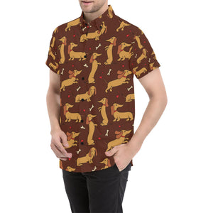 Dachshund Happy Print Pattern Button Up Shirt-kunshirts.com