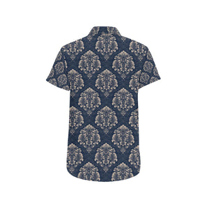 Damask Blue Luxury Print Pattern Button Up Shirt-kunshirts.com
