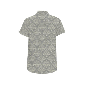 Damask Grey Elegant Print Pattern Button Up Shirt-kunshirts.com