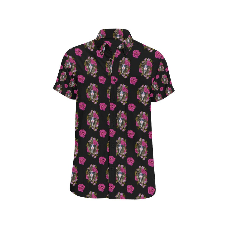 Day of the Dead Makeup Girl Button Up Shirt-kunshirts.com