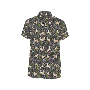 Deer Floral Jungle Button Up Shirt-kunshirts.com