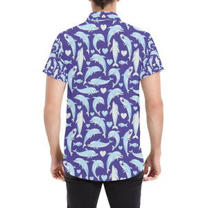 Dolphin Smile Print Pattern Button Up Shirt-kunshirts.com