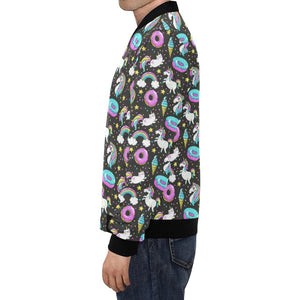 Donut Unicorn Pattern Print Design DN09 Men Bomber Jacket-kunshirts.com