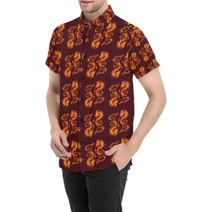 Dragons Fire Design Button Up Shirt-kunshirts.com