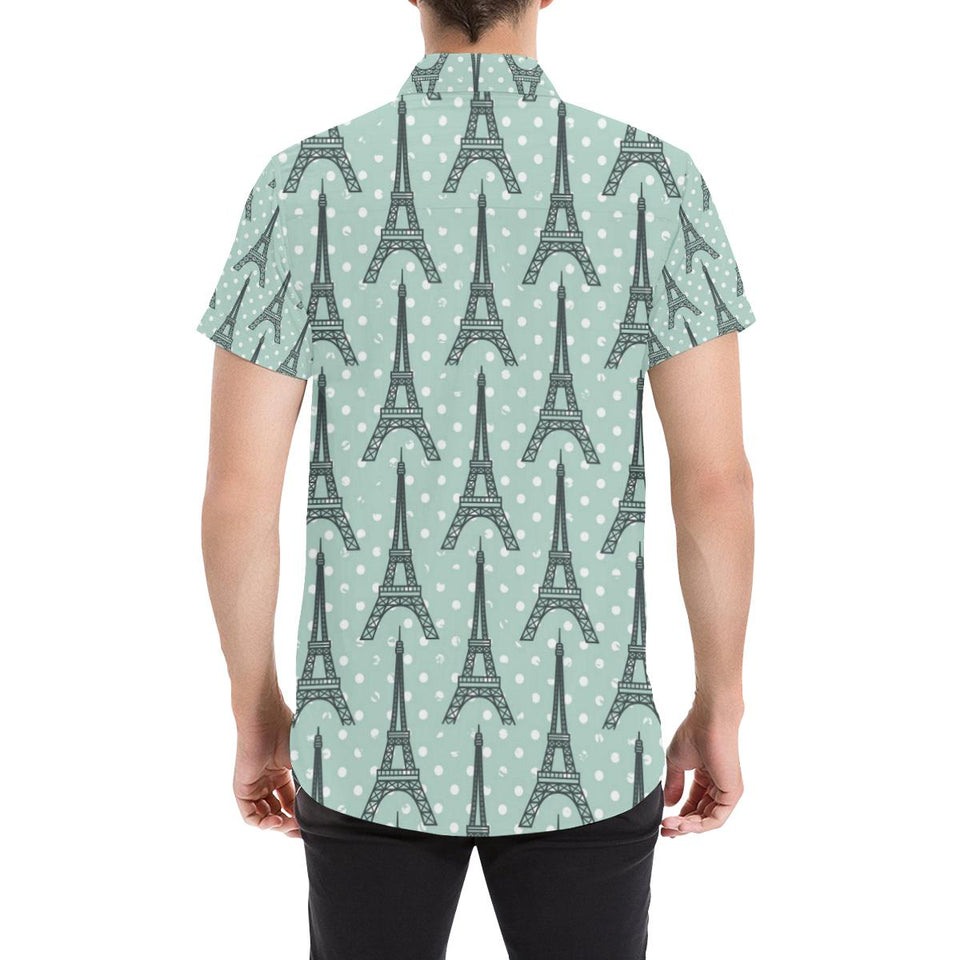 Eiffel Tower Polka Dot Print Button Up Shirt-kunshirts.com