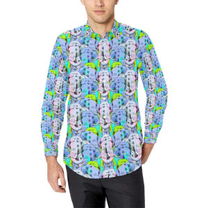 Elephant Art color Print Pattern Long Sleeve Dress Shirt-kunshirts.com