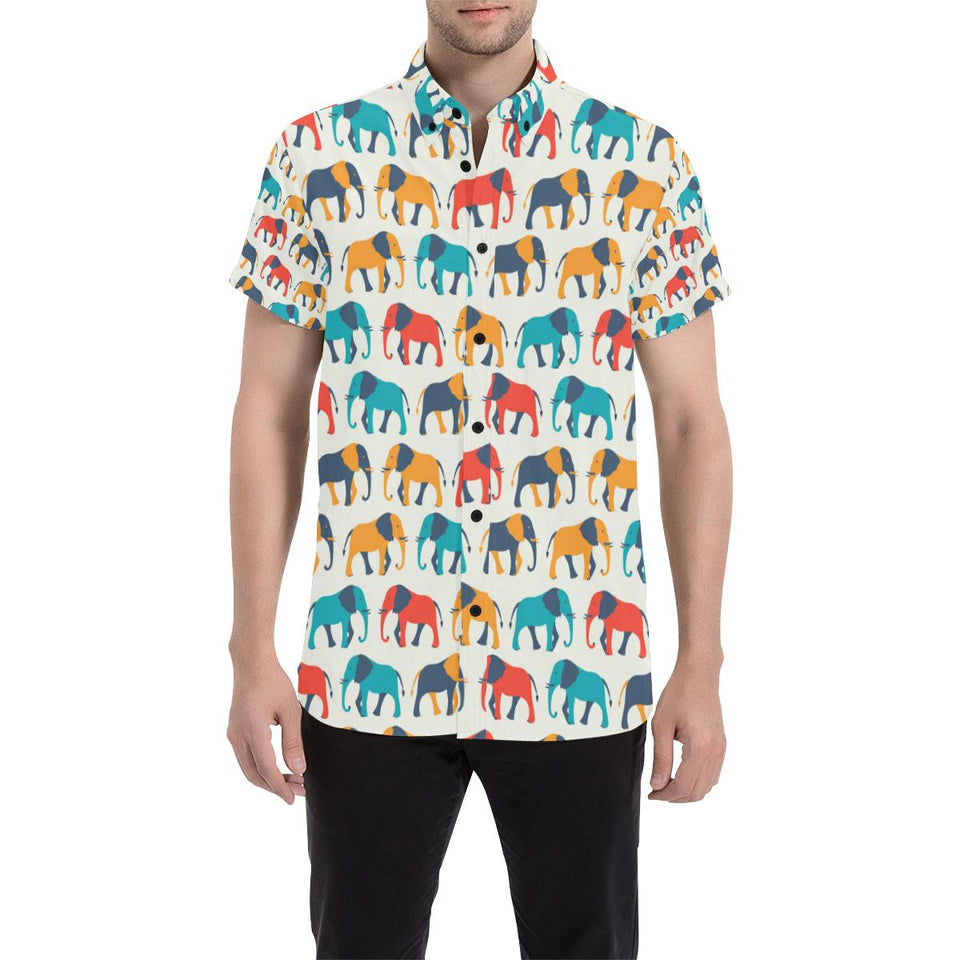 Elephant Colorful Print Pattern Button Up Shirt-kunshirts.com