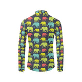 Elephant Neon Color Print Pattern Long Sleeve Dress Shirt-kunshirts.com