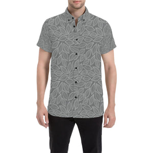 Elm Leave Grey Print Pattern Button Up Shirt-kunshirts.com