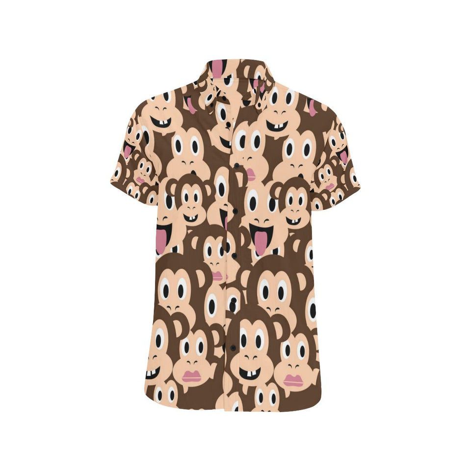 Emoji Monkey Print Pattern Button Up Shirt-kunshirts.com