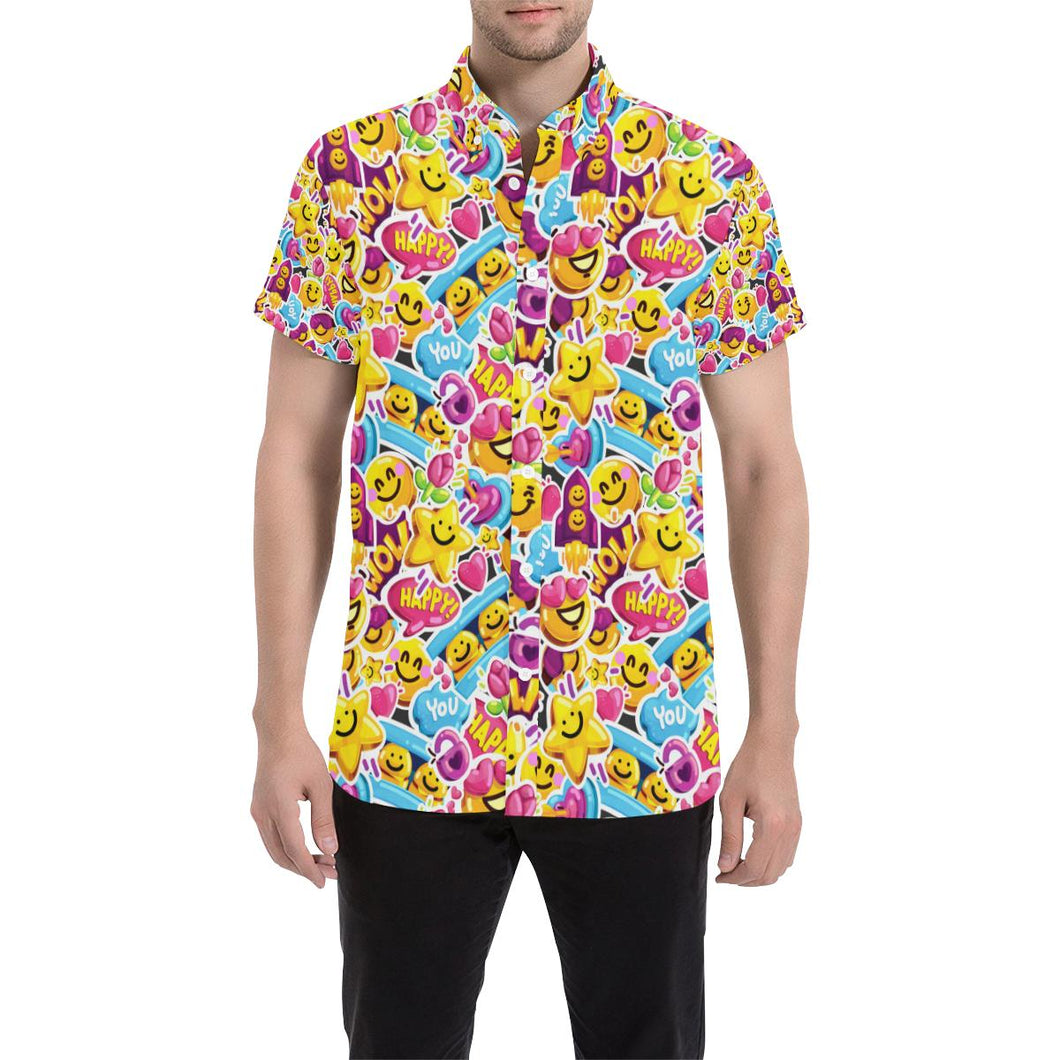 Emoji Sticker Print Pattern Button Up Shirt-kunshirts.com