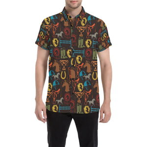 Equestrian Equipment Horse Colorful Button Up Shirt-kunshirts.com