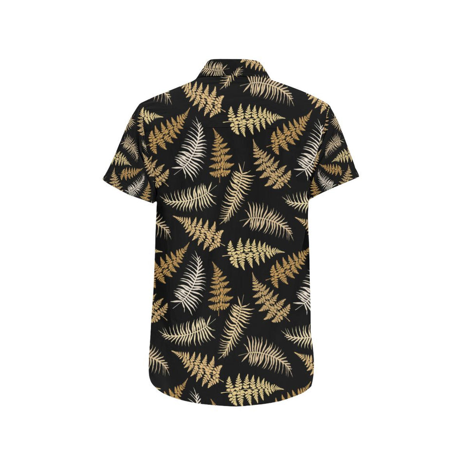 Fern Leave Bright Print Pattern Button Up Shirt-kunshirts.com
