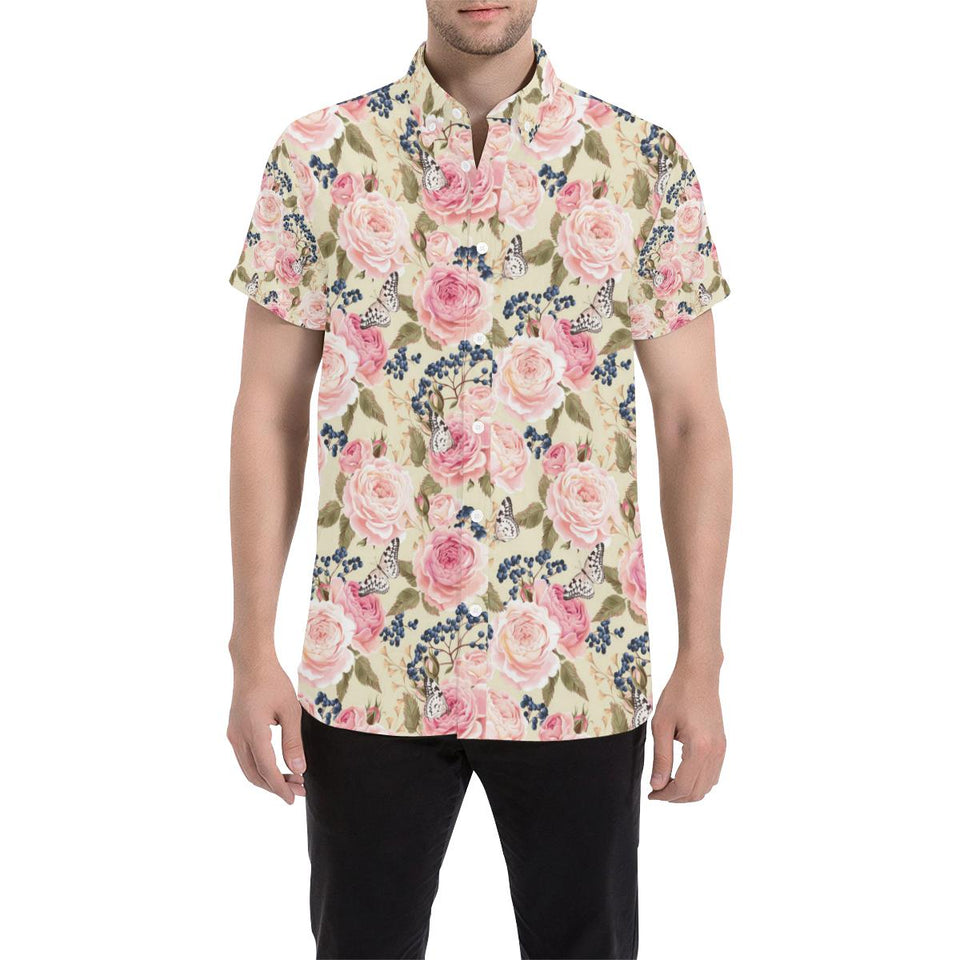Floral Pink Butterfly Print Button Up Shirt-kunshirts.com