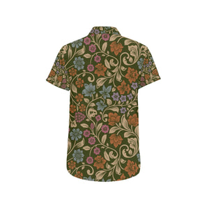 Floral Vintage Print Pattern Button Up Shirt-kunshirts.com