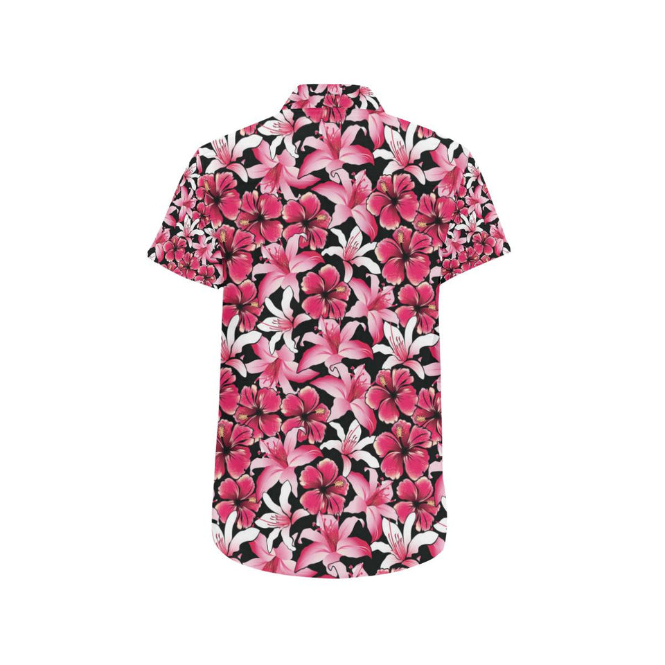 Flower Hawaiian Pink Red Hibiscus Print Button Up Shirt-kunshirts.com