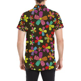 Flower Power Colorful Print Pattern Button Up Shirt-kunshirts.com
