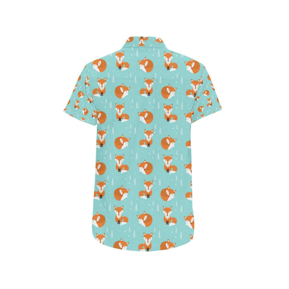 Fox Design Snow Print Pattern Button Up Shirt-kunshirts.com