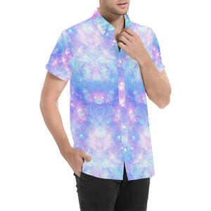 Galaxy Stardust Pastel Color Print Button Up Shirt-kunshirts.com