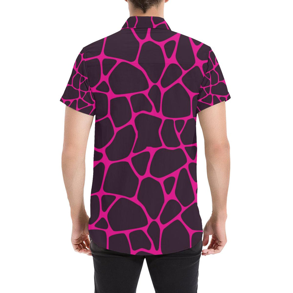 Giraffe Pink Background Texture Print Button Up Shirt-kunshirts.com