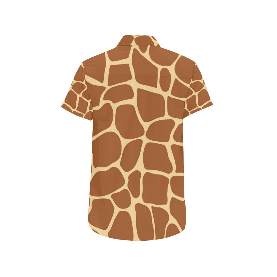 Giraffe Texture Print Button Up Shirt-kunshirts.com
