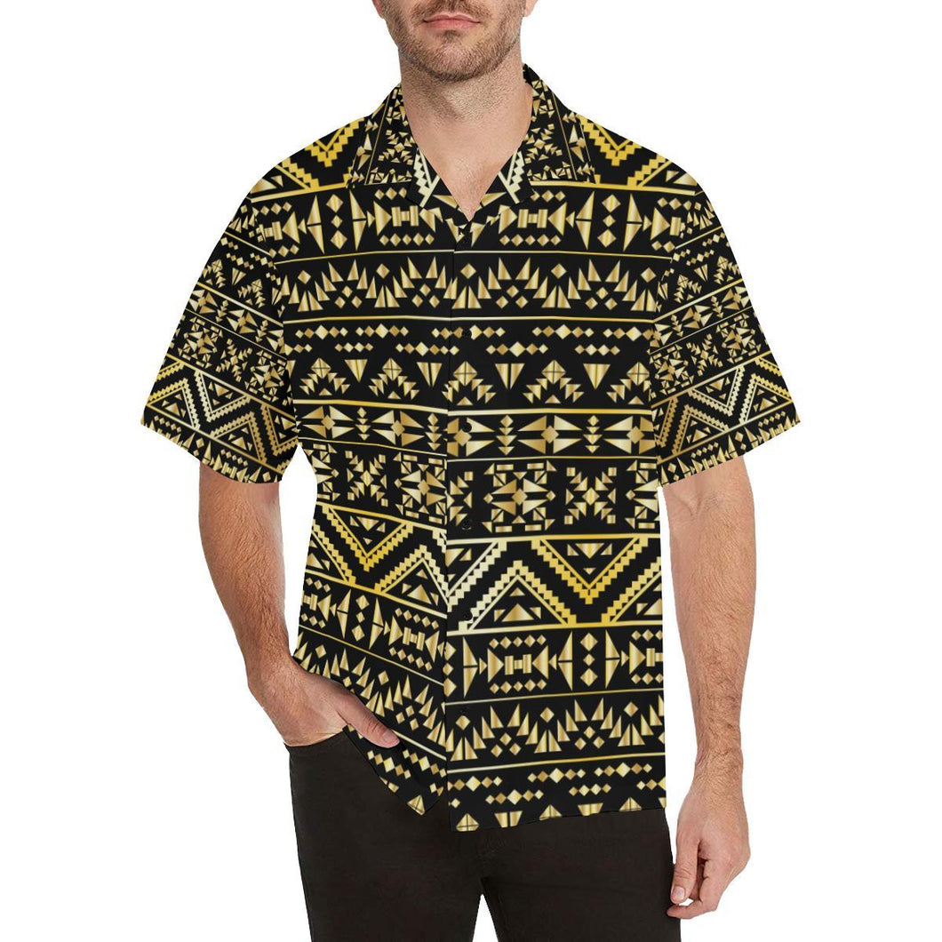 Gold Aztec Tribal Hawaiian Shirt-kunshirts.com
