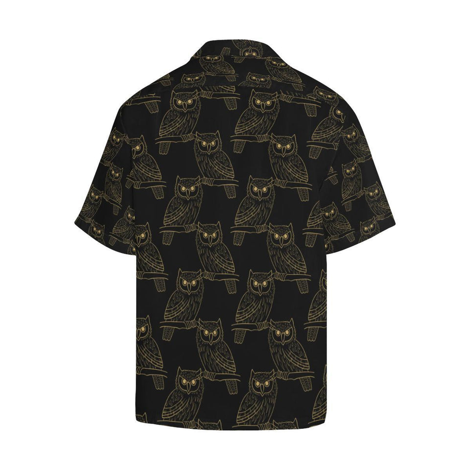 Gold Owl Pattern Hawaiian Shirt-kunshirts.com