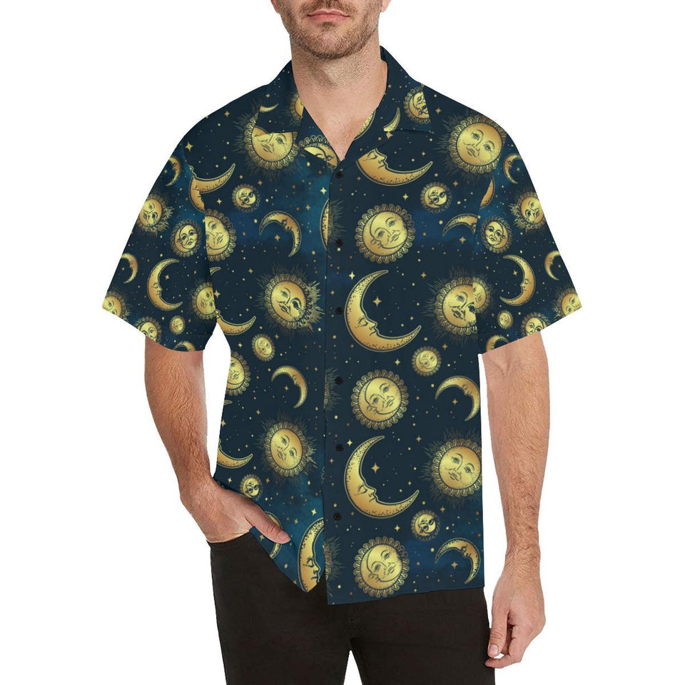 Gold Sun Moon Face Hawaiian Shirt-kunshirts.com