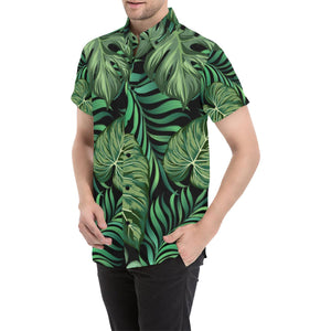 Green Fresh Tropical Palm Leaves Button Up Shirt-kunshirts.com