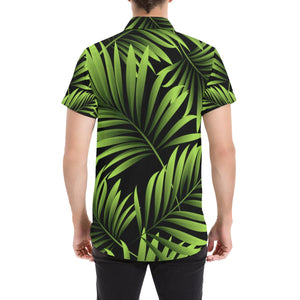 Green Neon Tropical Palm Leaves Button Up Shirt-kunshirts.com
