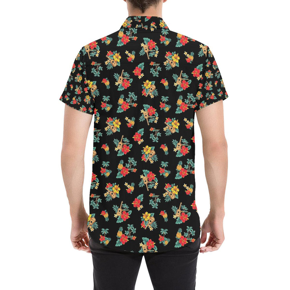 Hawaiian Flower Themed Print Button Up Shirt-kunshirts.com