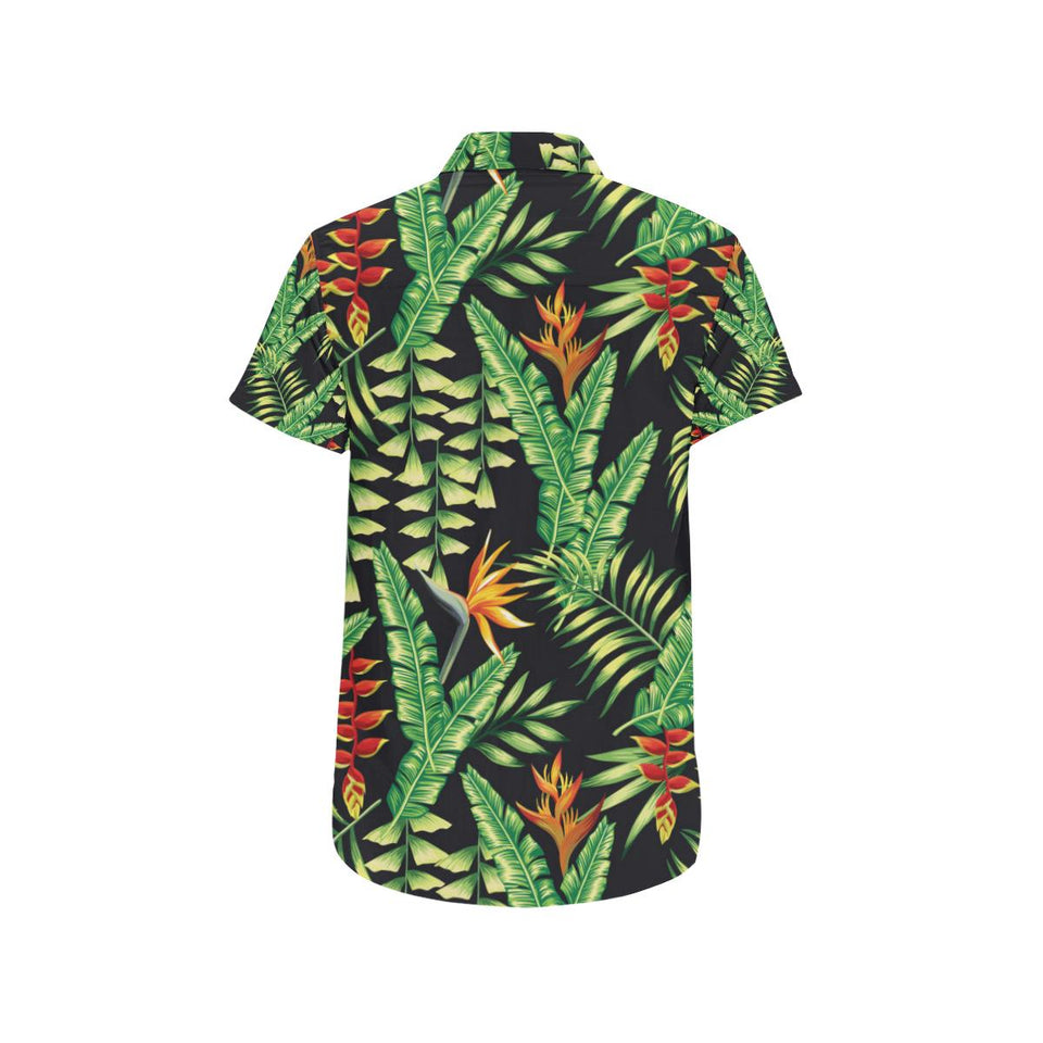 Hawaiian Flower Tropical Palm Leaves Button Up Shirt-kunshirts.com