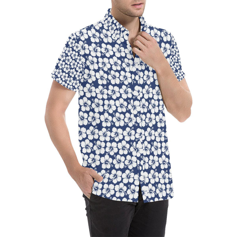 Hibiscus Blue Hawaiian Flower Pattern Button Up Shirt-kunshirts.com
