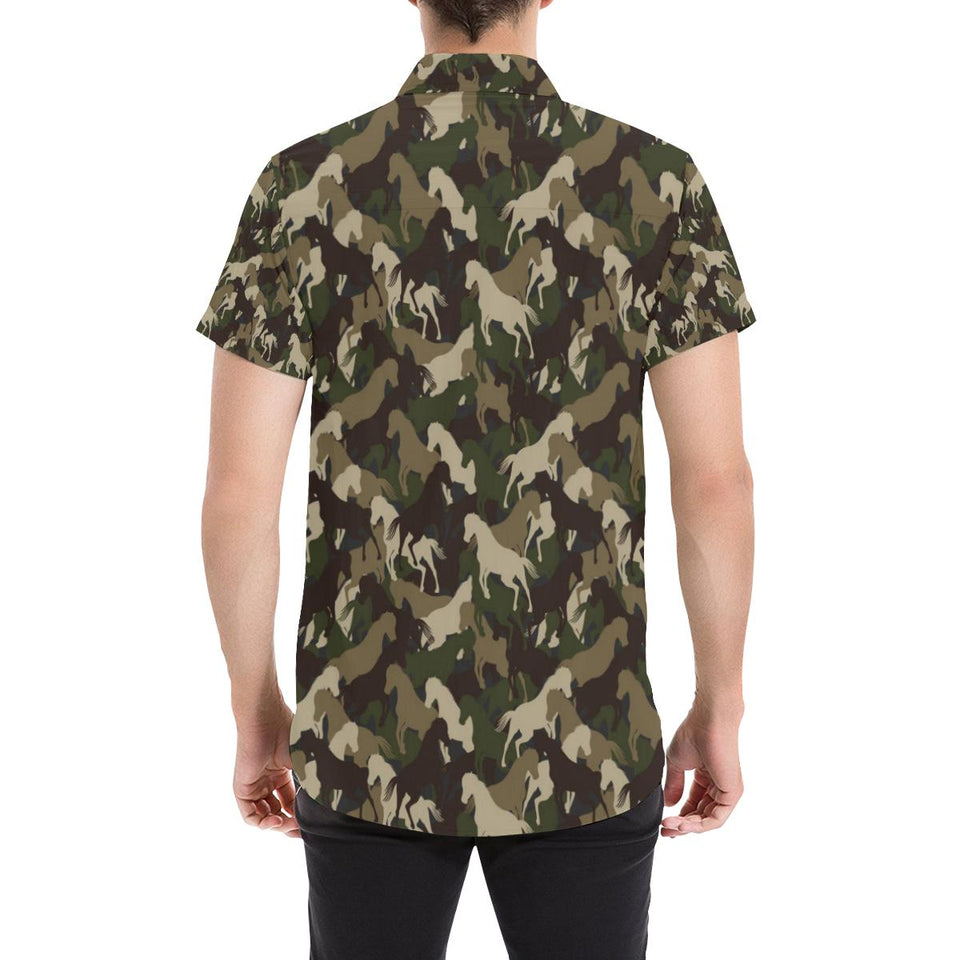 Horse Camo Themed Design Print Button Up Shirt-kunshirts.com