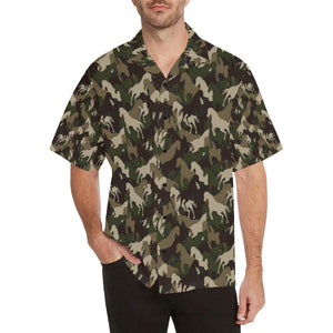 Horse Camo Themed Design Print Hawaiian Shirt-kunshirts.com