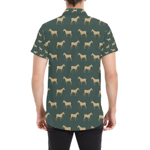 Horse Classic Themed Pattern Print Button Up Shirt-kunshirts.com