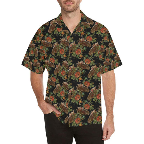 Horse Embroidery with Flower Design Hawaiian Shirt-kunshirts.com