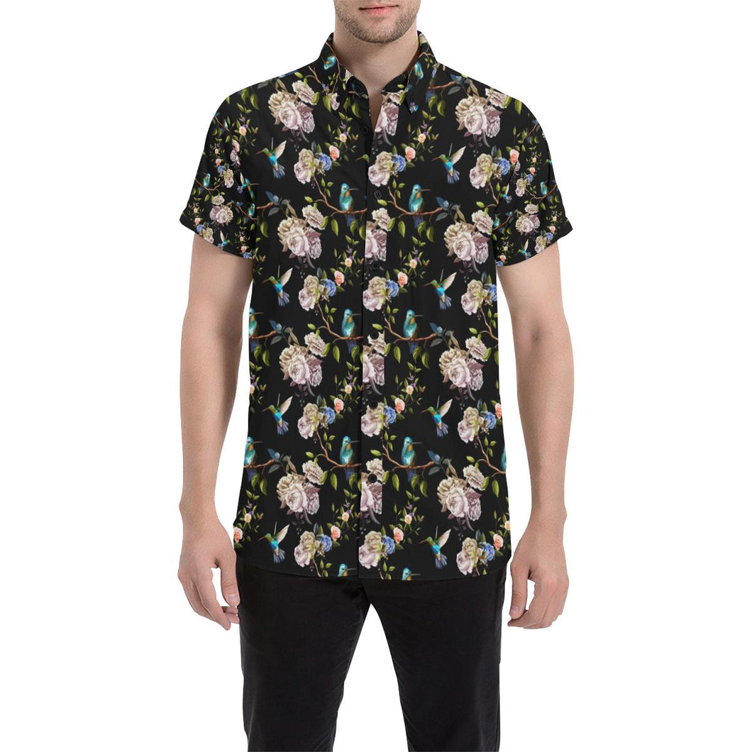 Hummingbird Flower Themed Print Button Up Shirt-kunshirts.com