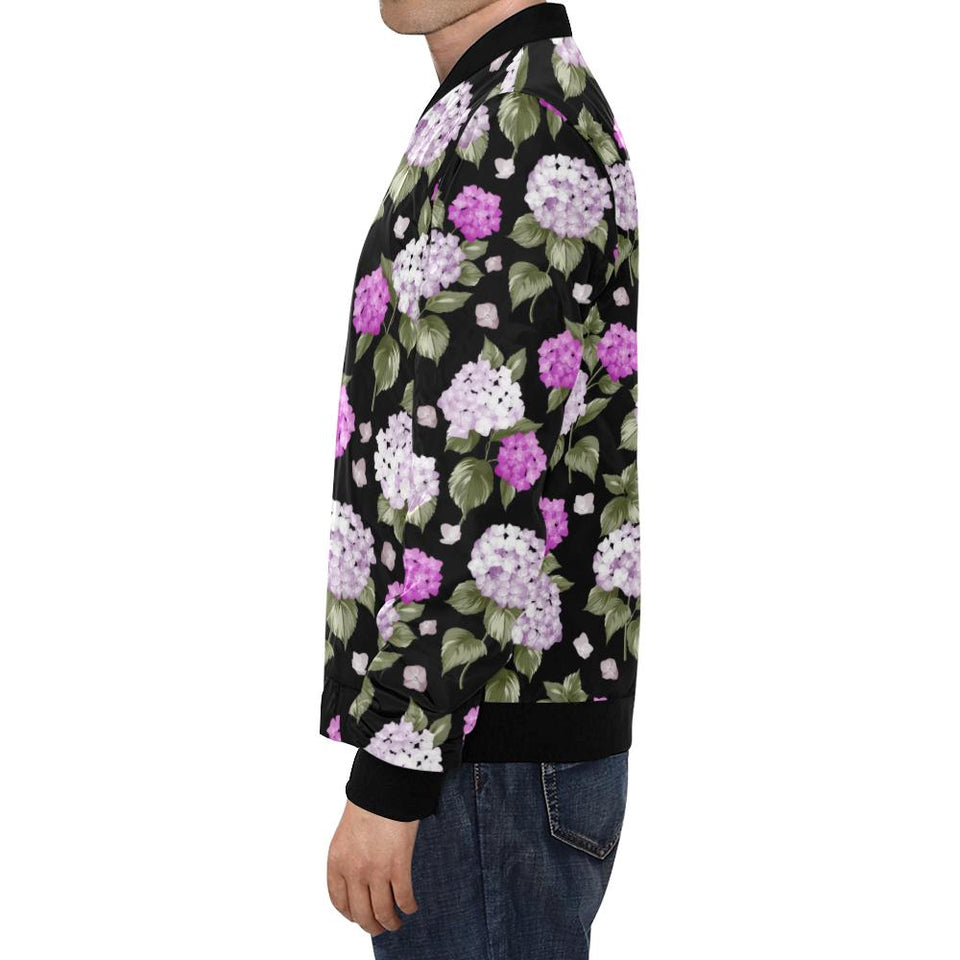 Hydrangea Pattern Print Design HD011 Men Bomber Jacket-kunshirts.com