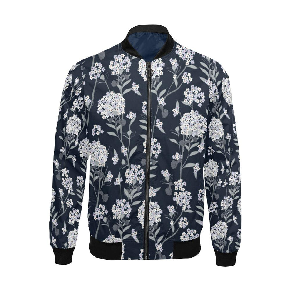 Hydrangea Pattern Print Design HD07 Men Bomber Jacket-kunshirts.com