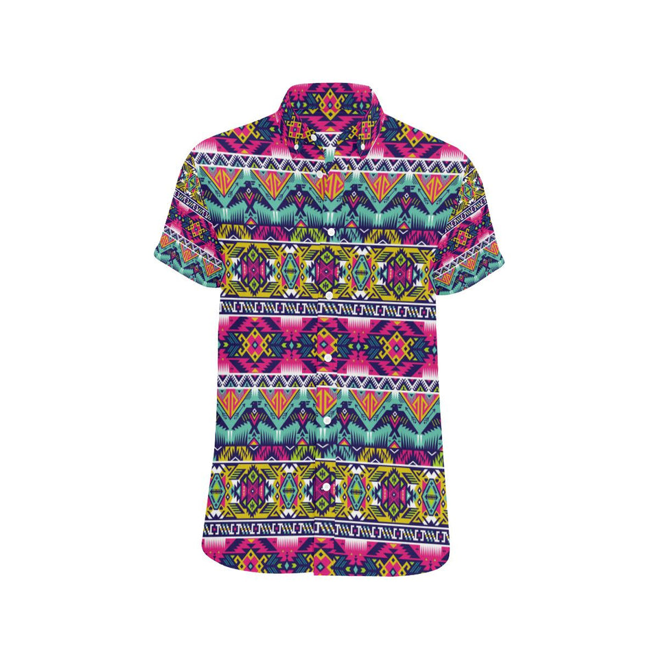 Indian Navajo Color Themed Design Print Button Up Shirt-kunshirts.com