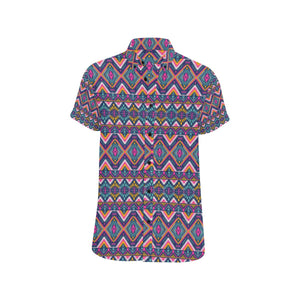 Indian Navajo Pink Themed Design Print Button Up Shirt-kunshirts.com